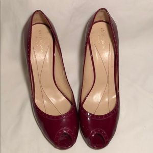Patent red peep toes kate spade